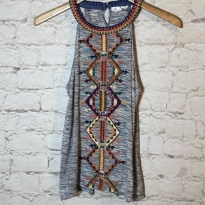 THML GRAY EMBROIDERED INDIAN STYLE SLEEVELESS TOP